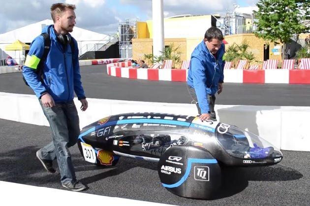 【ビデオ】ドイツの大学院生チームが製作した電気自動車が、約1万1,000km/L相当の電力消費率でギネス世界記録を…