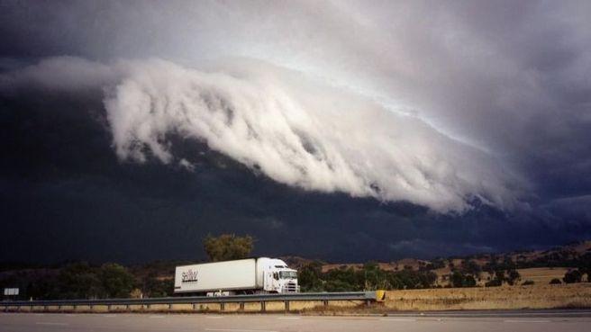 Storm clouds roll into Gundagai.