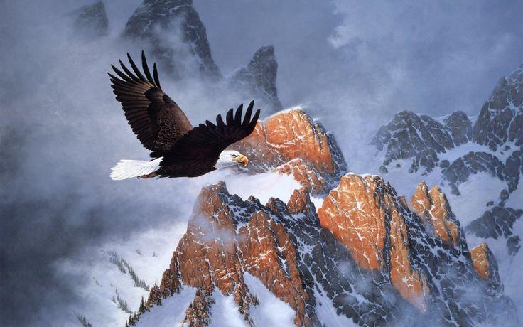 art painting derk hansen mountains eagles wallpapers hd
