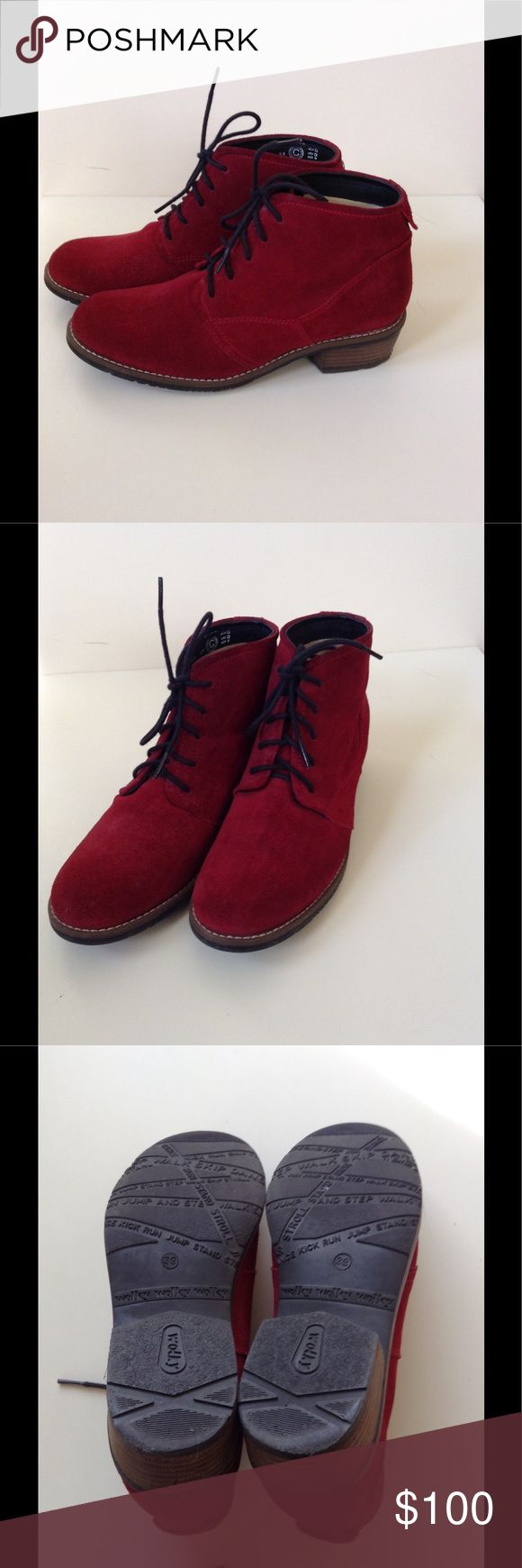 """Wolky Red Suede Boots Adorable red suede low boot. Wolky """"Erne"""" in """"Oxblood Greases Suede"""". Very good condition. Worn only a few times. Small ink mark on inside of right heel (see photo). Hard to find color (still on Zappos for$229 in blue... But not this great, deep red!... Better buy before it gets too cold because I'm starting to want to keep them!!! Important note on size: Posh says European 39 is a size 9. I always wear a 38 and/or 8 - NEVER a 9. Wolky Shoes Ankle Boots & Booties"""