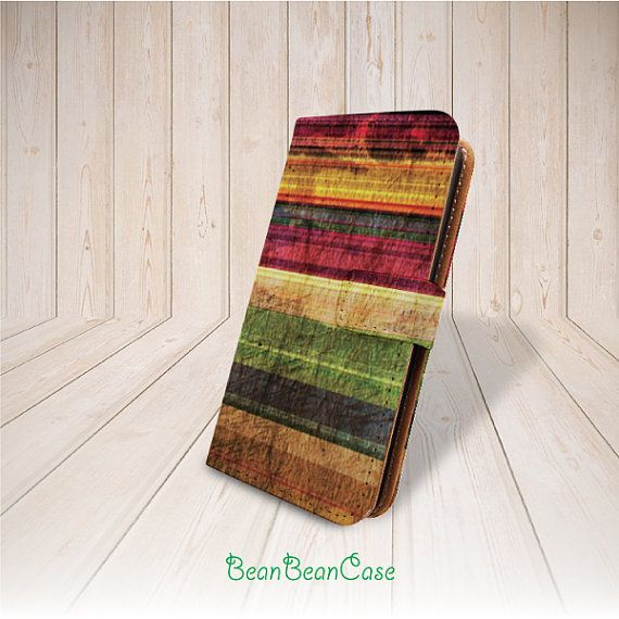 Colorful wood print retro wooden flip pu leather case by BeanBeanCase