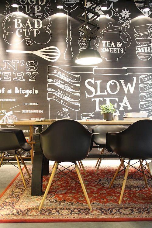 Trend to love: Dining room chalkboard wall - lizmarieblog.com