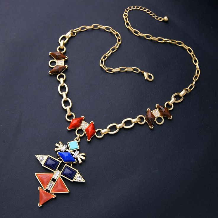Coral and navy necklace.