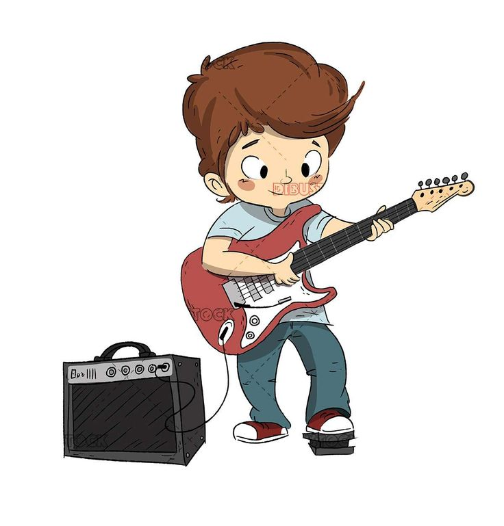 Boy playing the guitar guitar or music course cartoon