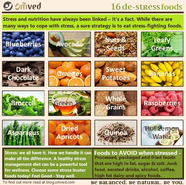 16 DE-STRESS FOODS - You're overwhelmed, overtired, and stressed! Relieve stress by eating certain foods and avoiding others. Comfort foods, like a bowl of warm oatmeal, boost levels of serotonin, a calming brain chemical. Other foods can cut levels of cortisol and adrenaline, stress hormones that take a toll on the body over time. A healthy diet can help counter the impact of stress by boosting the immune system and lowering blood pressure. This infograph shows which foods are stress…