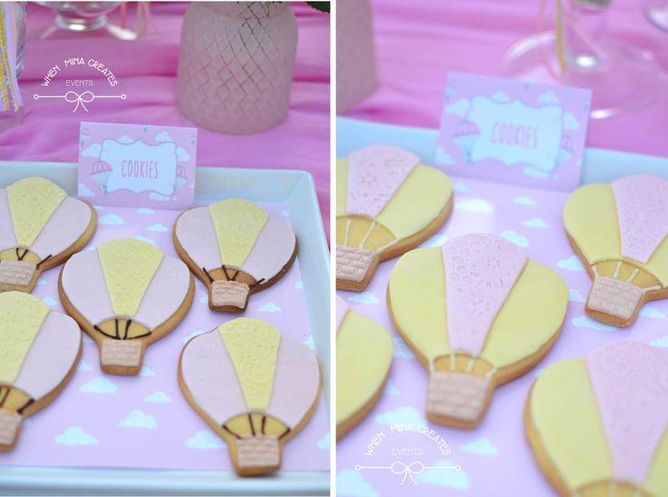 hot air balloon cookies / βάπτιση αερόστατο μπισκότα αερόστατο