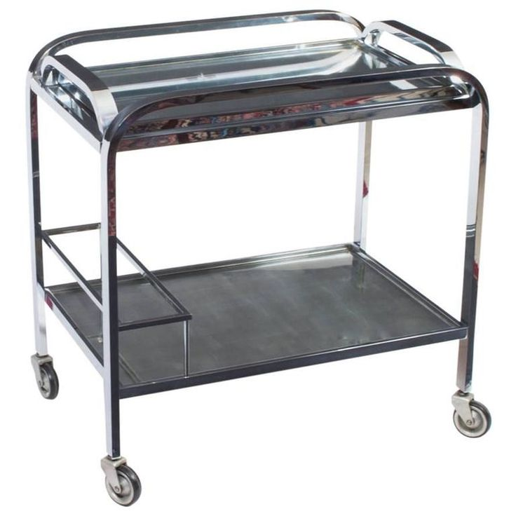 Antique French Chrome Drinks Serving Trolley, circa 1930 | From a unique collection of antique and modern serving tables at https://www.1stdibs.com/furniture/tables/serving-tables/