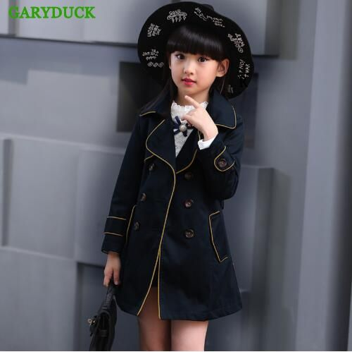 26.42$  Buy here - http://ali30z.shopchina.info/1/go.php?t=32800711177 - GARYDUCK Girls Trench Jackets spring autumn 2017 Children Long Coat Kids Blazer Cotton Outerwear Teenage children Clothing 26.42$ #buychinaproducts