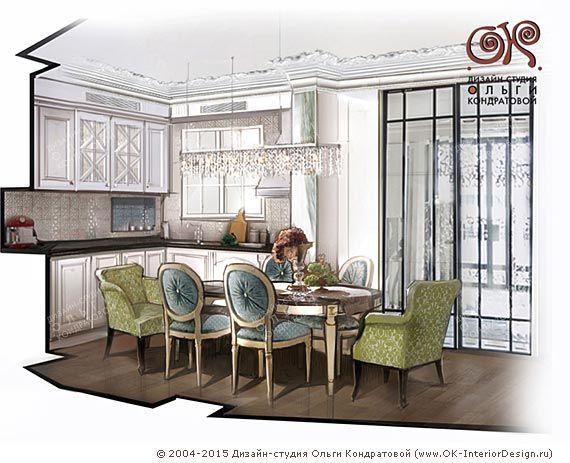Рисунок интерьера кухни-столовой с высокими стеклянными дверьми http://www.ok-interiordesign.ru/blog/dizayn-kuhni-stolovoy-provans-neoklassika.html