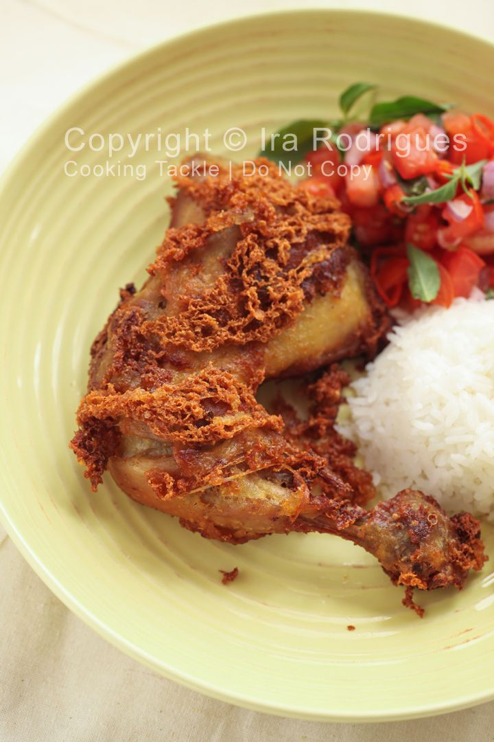 Crispy chicken with spicy tomato relish, Ayam kremes sambal Dabu-dabu