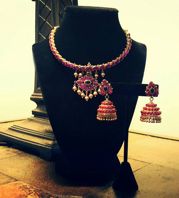 Antique Pota Ruby pure 22 kt gold plated silver addigai by Sravams