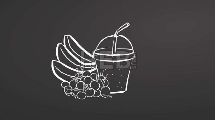 Banana and cherry smoothie on chalkboard. Hand drawn healthy food sketch. Black and White Vector Drawing on Blackboard. ... ... by #Hebstreit