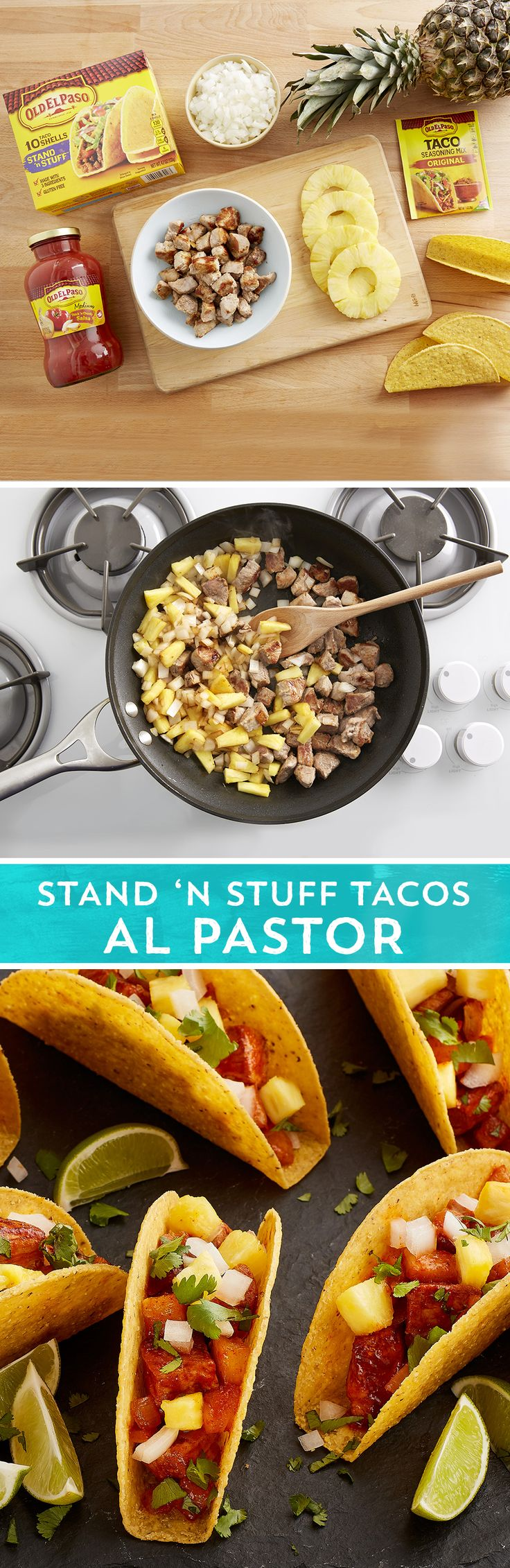 The classic pineapple, onion, and rotisserie pork flavors of al pastor come together quickly and easily in this skillet riff on the original, using pork tenderloin and Old El Paso Stand 'N Stuff™ taco shells.