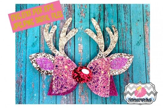 Free Svg Reindeer Antler Hair Bow Template Svg Dxf Pdf Eps Jpg Bow Template Diy Hair Bows Christmas Bows