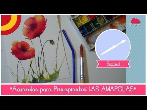 Curso de Acuarela para Principiantes: como pintar amapolas (utilizando una pajilla) - YouTube