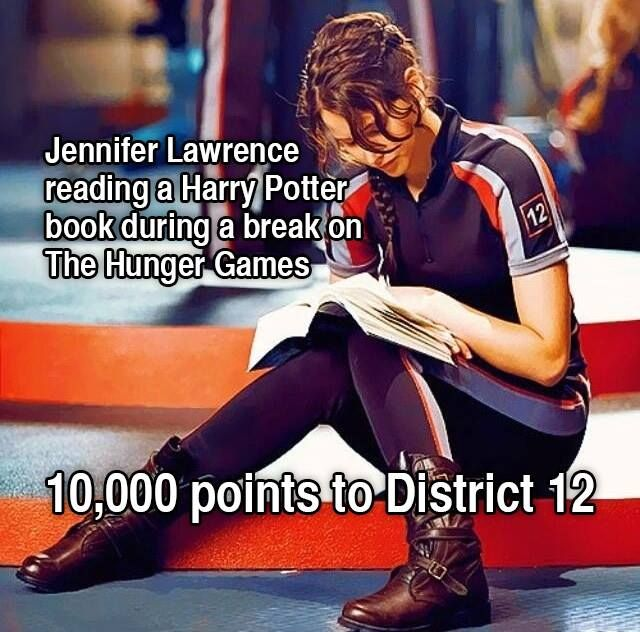 "What Hogwarts house would Katniss be in? <<<2 things 1.) Katniss the characters would be in Griffindor there's no doubt in my mind she is selfless and brave and ready to die for everyone else 2.) She isn't reading ""a Harry Pitter book"" she's clearly reading 'Harry Potter and the Order of the Pheonix' so excuse you guys"