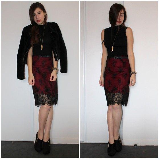 H&M Jacket, Grain De Malice Skirt, New Look Shoes, Jennyfer Crop Top, H&M Necklace