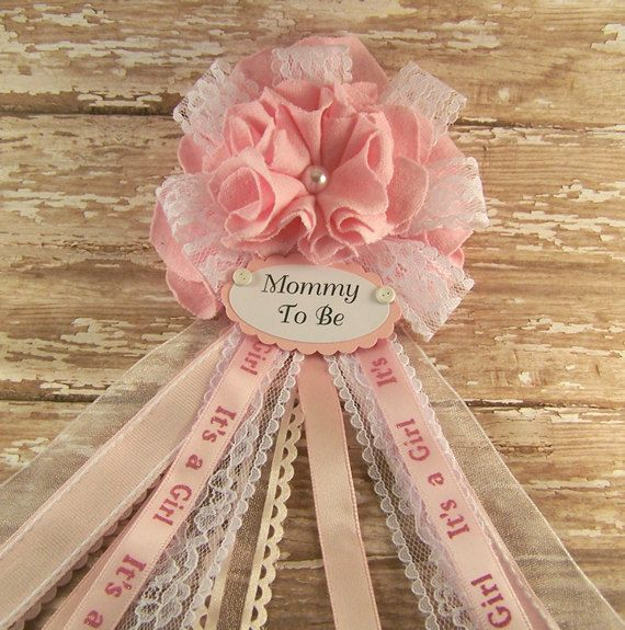 Pink and Lace Mommy To Be Corsage Baby Shower by BloomingParty
