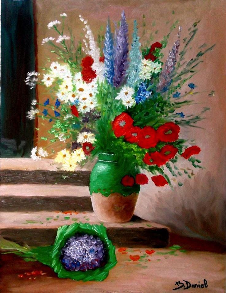 """Vas cu Flori ..  Pictura in culori de ulei (Deco,Combinatul Fondului Plastic), Bloc desen Telia oil A3; Tablou: lăţime 30 cm, înălţime 40 cm;-Pictura proprie semnata: Boboc Daniel """"by b.daniel"""" VANDUT"""