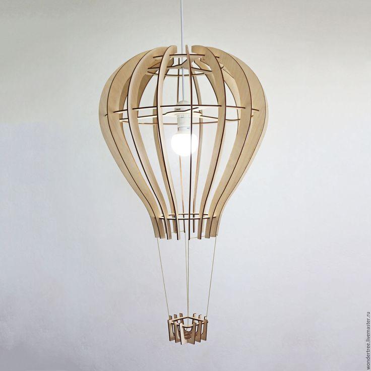 """Wooden lamp Air Balloon   Купить Люстра """"Воздушный шар"""" - бежевый, дирижабль, воздушный шар, люстра из дерева, детский светильник"""