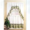 Country Kitchen Curtains - Cottage Ivy Vine Print Kitchen Curtain Set