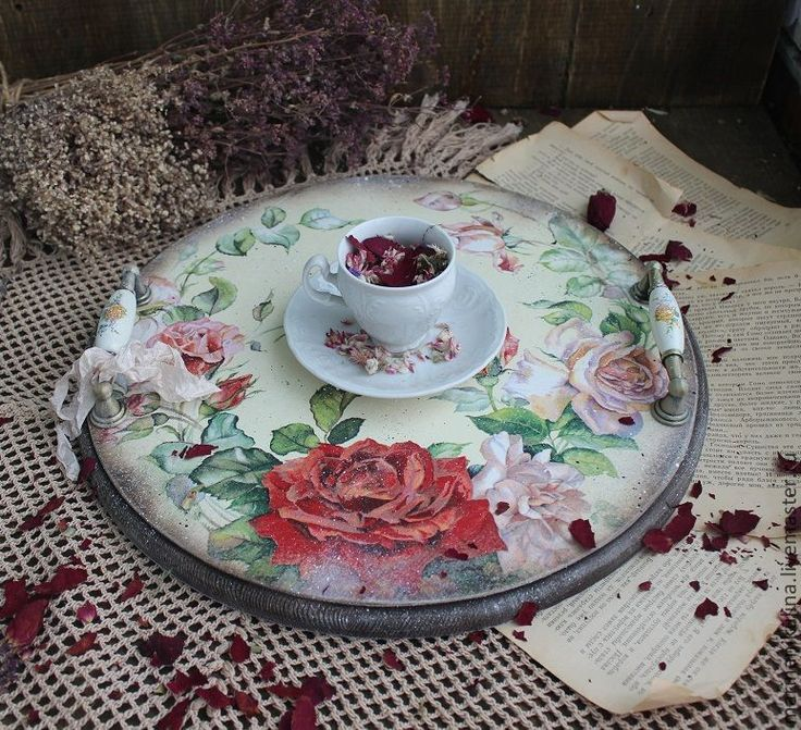 """Купить """"Чайные розы"""" поднос -подставка - бежевый, розовый, красный, розы, чайная роза, подарок"""