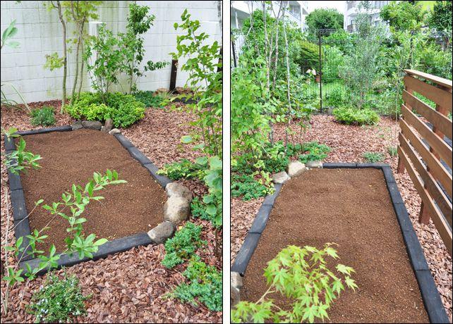 自然石も織り交ぜた家庭菜園の構成 庭 家庭菜園 造園