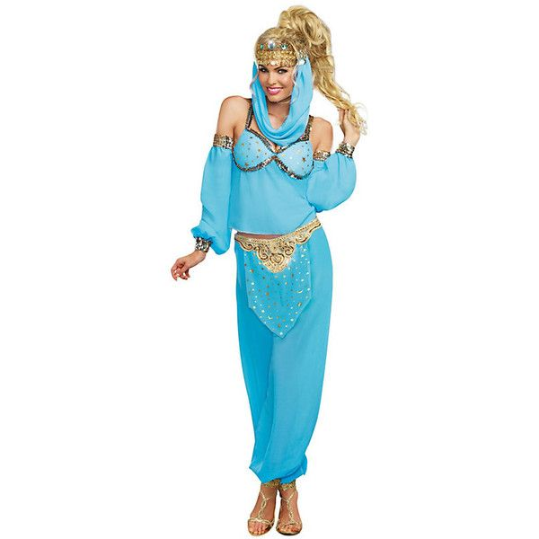 Sexy Genie In a Bottle Costume for Women (£40) ❤ liked on Polyvore featuring costumes, halloween costumes, multicolor, blue costume, adult halloween costumes, womens halloween costumes, ladies halloween costumes and sexy costumes