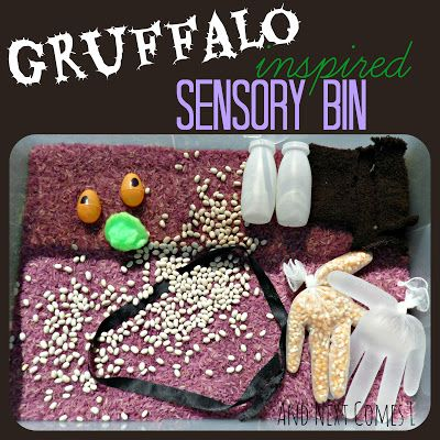 Gruffalo inspired sensory bin from And Next Comes L