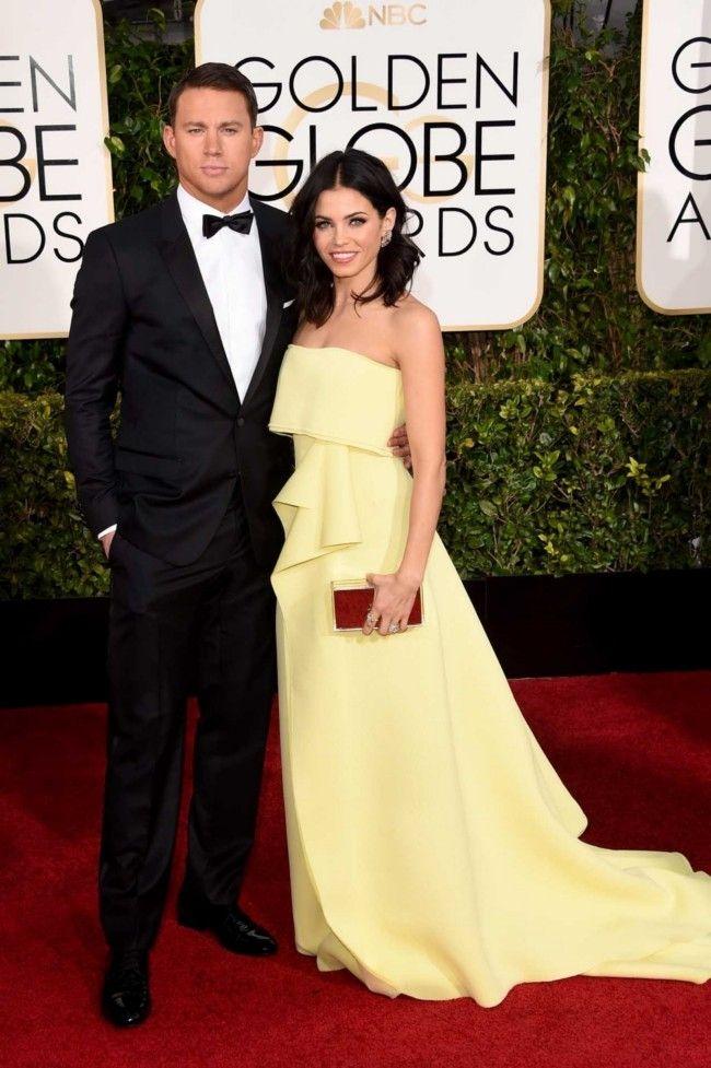 Golden Globes 2015: what they're wearing: Channing Tatum in Dolce & Gabbana and Jenna Dewan Tatum in Carolina Herrera
