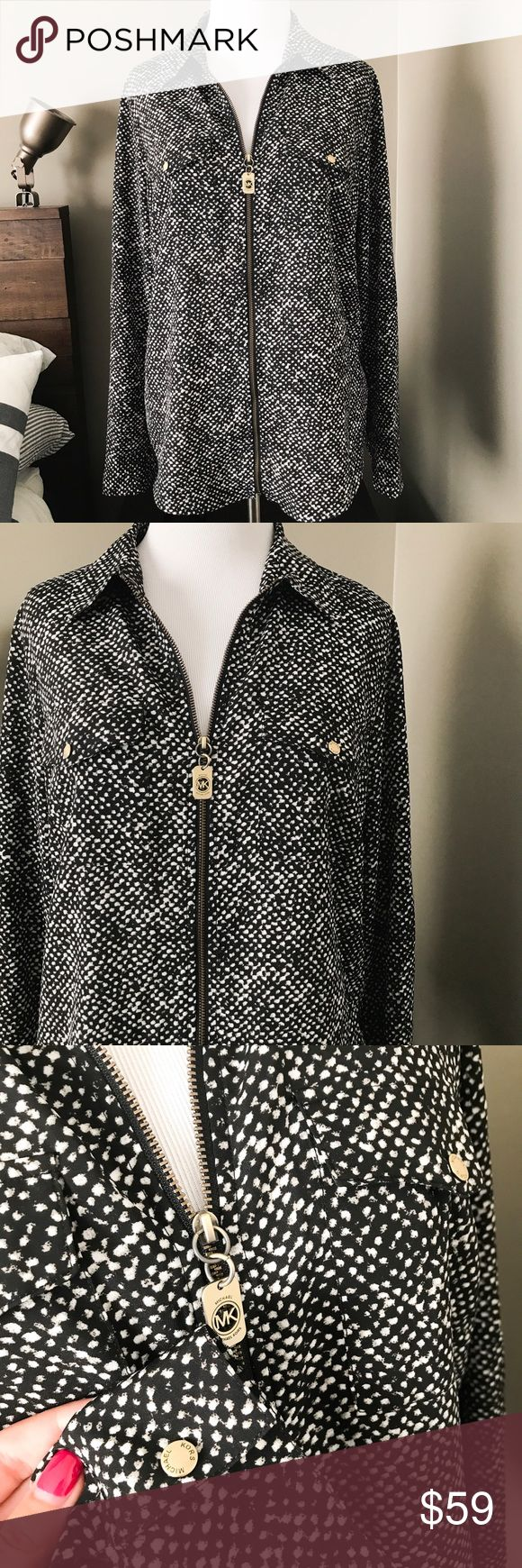 Michael Kors Zip Safari Shirt Gorgeous Flowy zip-up safari style Blouse from MK. Gold zip and button accents. Size M. Perfect condition. MICHAEL Michael Kors Tops Blouses
