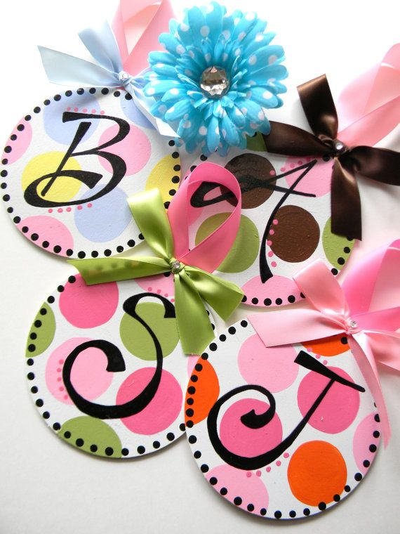 Delicious and Sweet! This 5 inch Big Circle Initial Polka Dot Ornaments are sure to please. Just name your colors and your initial! Each