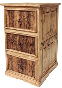 This tall pine file cabinet features three legal-sized file drawers with rustic, beveled fronts. Southwestern styling around the bottom complements any home or office decor. Made by hand in Mexico.