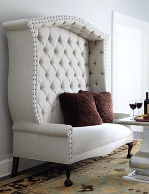 "Love this ""Peek-a-boo"" settee for the dining room  http://CARLAASTON.com/designed/interior-decorate-eclectic-furniture"