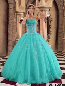 Most Popular Turquoise Beaded Puffy Quinceanera Gown Dresses - Quinceanera 100