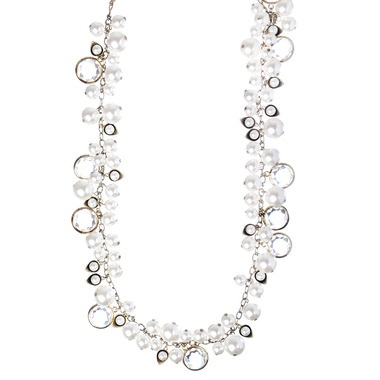 Lotus Pearl   Crystal Chanel Drops Necklace