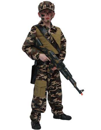 Leger kostuum voor kinderen. Dit leger kostuum is met camouflage print en is helemaal compleet met jas, broek en pet. Er kunnen bij dit kostuum ook veel leuke soldaten accessoires besteld worden.  Carnavalskleding 2015 #carnavalMateriaal: polyester en katoen.