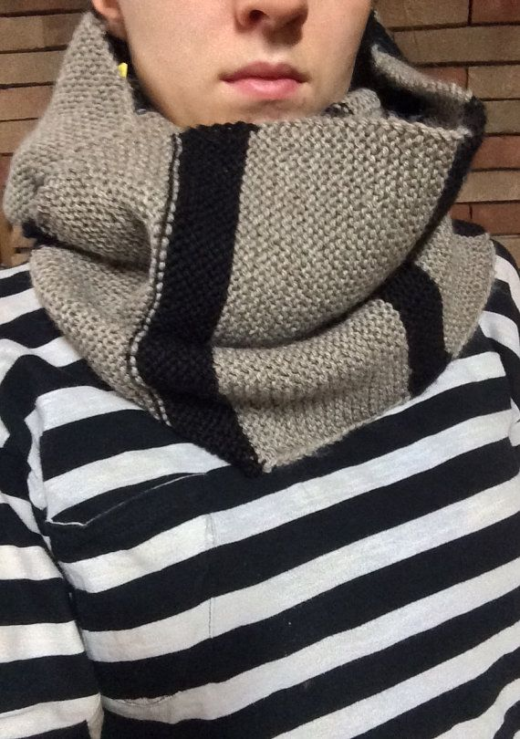 sciarpa infinita - infinity scarf beige and black handmade on etsy shop FFaaMM