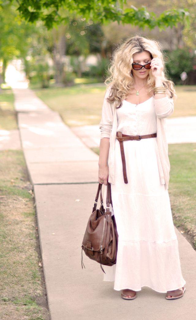 belted maxi: Diy White Maxi Dresses, Dresses Up, Dresses Amp, Dresses Belts, Brown Belts, Belts Maxi, Dresses Skirts, Big Hair, White Dresses