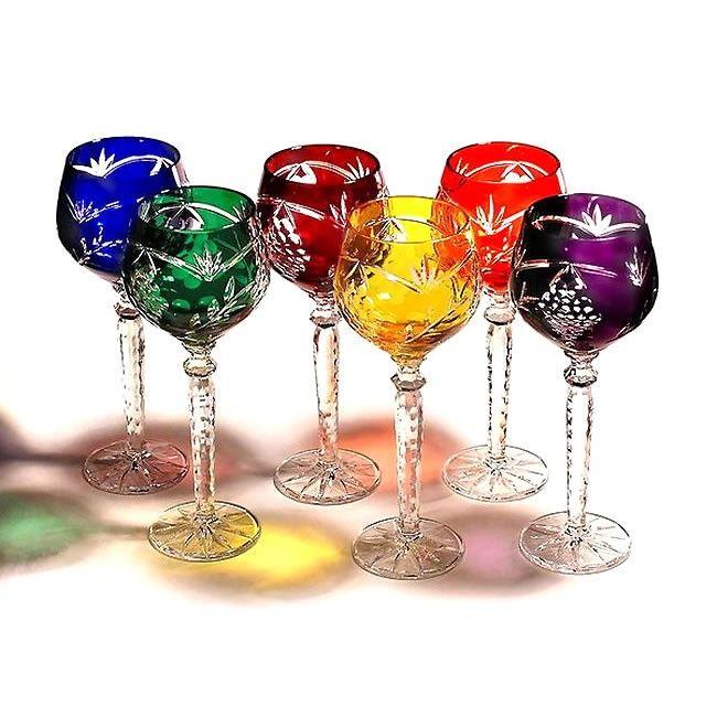 Σετ 6 τεμαχίων ποτήρια κρασιού σε χρώμα ρουμπινί, μπλε, αμέθυστο, πράσινο ανοικτό, πράσινο σκούρο, κόκκινο, κίτρινο, γαλάζιο.