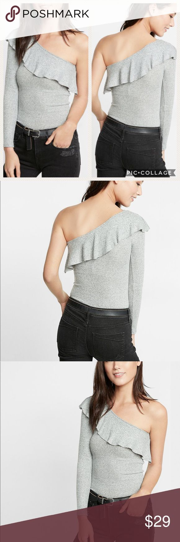 One Shoulder Ruffle Top Brand New, Available in Large or Xlarge, Color: Gray, Casual meets sexy in this soft, textured tee. The one-shoulder cut reveals a flirty glimpse of skin, while ruffles dance playfully along the neckline. Go laid-back and wear it with some stunning denim leggings.  One shoulder design Long sleeves Ruffle detail; Ribbed fabric Straight hem Rayon/Polyester/Spandex Machine wash Imported Express Tops