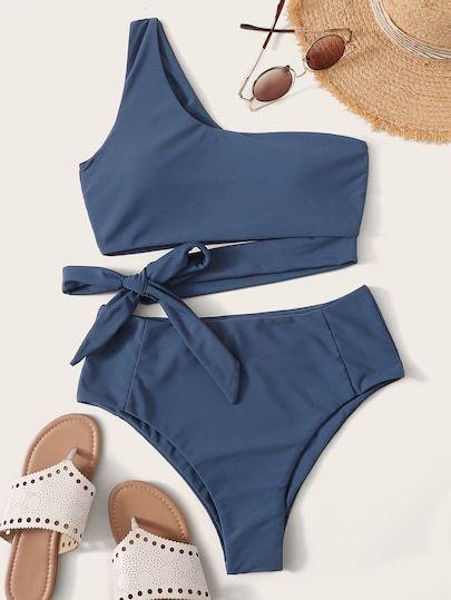 One Shoulder Top Mit Bikini-Set Mit Hoher Taille