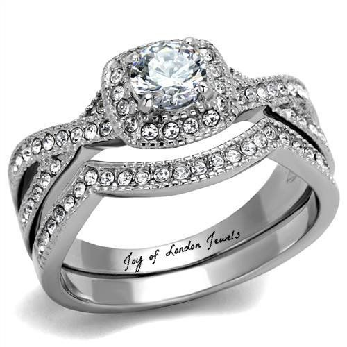 1.3CT Round Cut Halo Russian Lab Diamond Bridal Set Wedding Band Ring