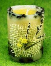 свеча декорированная кофе и сухоцветами