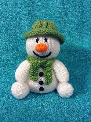 The snowman with green hat chocolate orange cover or 15 cms toy knitting pattern