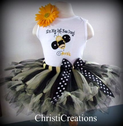 Items Similar To Bumble Bee Baby Girl Birthday Petti Tutu Set Outfit Personalized On Etsy