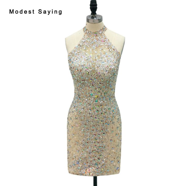 Find More Cocktail Dresses Information about Sexy See Through Champagne Short Cocktail Dresses 2018 with Rhinestone Mini Party Prom Gowns with High Neck vestidos de coctel,High Quality short cocktail dress,China cocktail dresses Suppliers, Cheap short cocktails from modest saying Lacebridal Store on Aliexpress.com