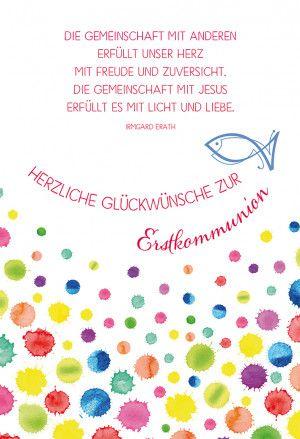 Gluckwunschkarte Herzliche Gluckwunsche Zur Erstkommunion