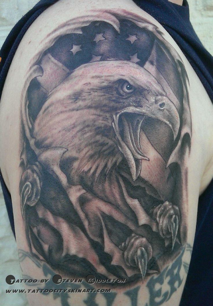 Tattoo City Skin Art- Lockport, IL. Tattoo By: Steven Middleton  Black and Grey_portrait_eagle_realism_patriotic_tattoo