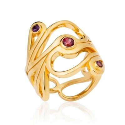 Mari splash Gold ring by SHO Jewellery
